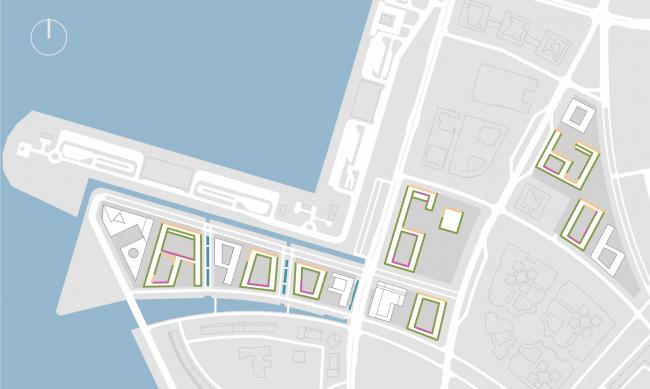 Комплексная общественно-жилая застройка на Васильевском острове. Анализ инсоляции. Проект, 2015 © KCAP Architects & Partners + ORANGE Architects
