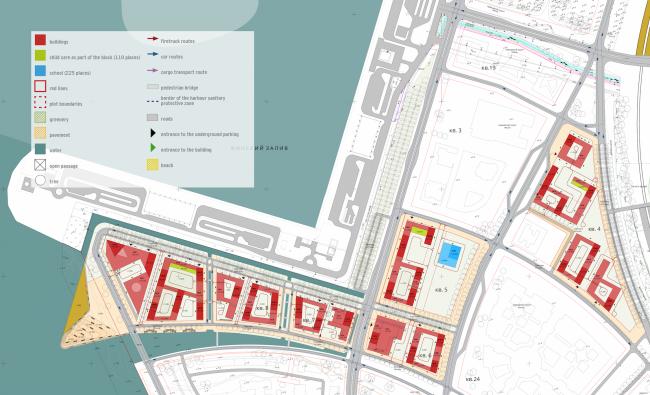 Комплексная общественно-жилая застройка на Васильевском острове. Генеральный план. Проект, 2015 © KCAP Architects & Partners + ORANGE Architects