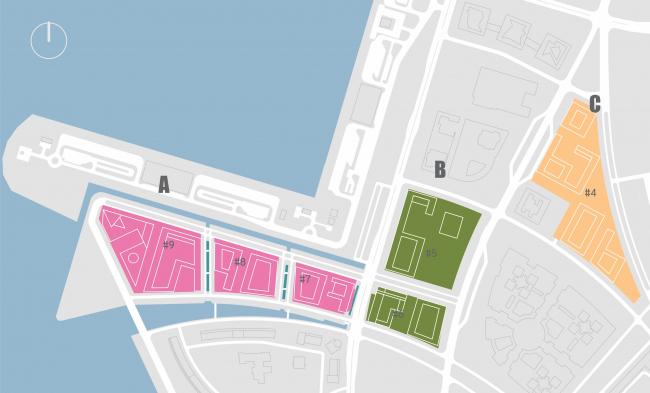 Комплексная общественно-жилая застройка на Васильевском острове. Стратегия очередности строительства. Проект, 2015 © KCAP Architects & Partners + ORANGE Architects