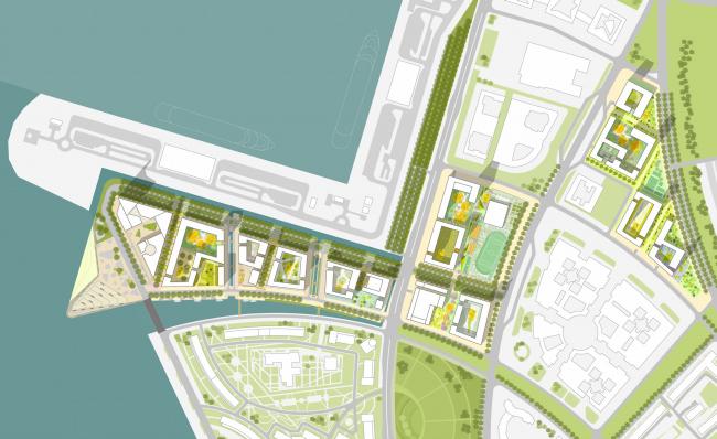 Комплексная общественно-жилая застройка на Васильевском острове. Схема благоустройства. Проект, 2015 © KCAP Architects & Partners + ORANGE Architects