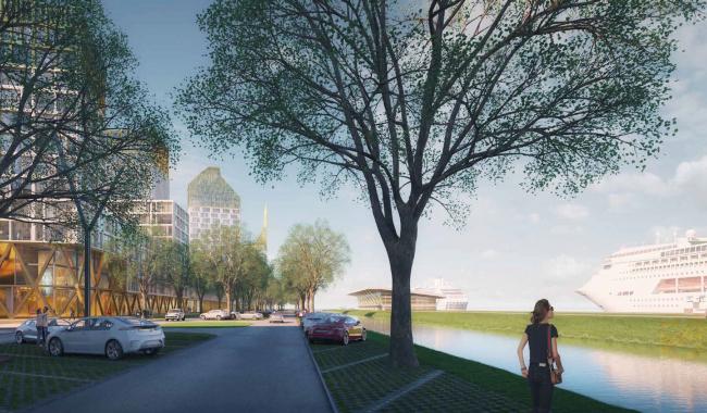 Комплексная общественно-жилая застройка на Васильевском острове. Водная граница. Проект, 2015 © KCAP Architects & Partners + ORANGE Architects