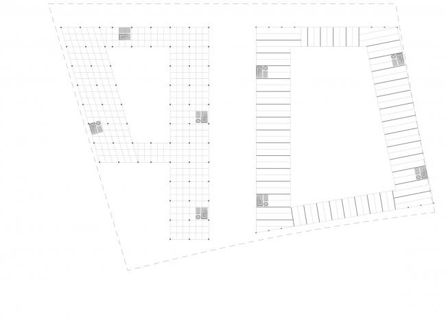 Комплексная общественно-жилая застройка на Васильевском острове. Сетка типового этажа. Проект, 2015 © KCAP Architects & Partners + ORANGE Architects