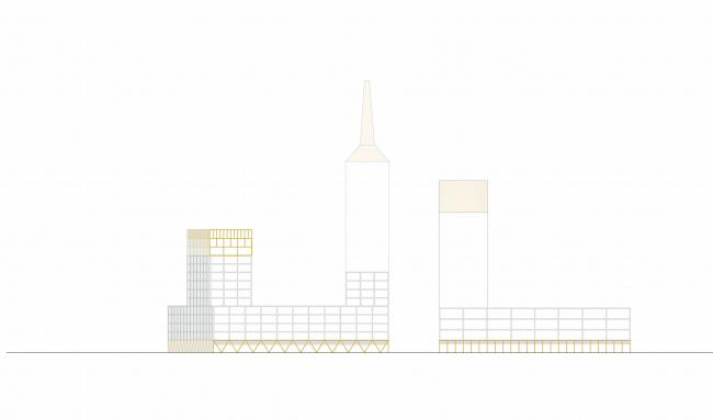 Комплексная общественно-жилая застройка на Васильевском острове. Типичная сетка фасада. Проект, 2015 © KCAP Architects & Partners + ORANGE Architects