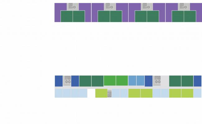 Комплексная общественно-жилая застройка на Васильевском острове. Секционная и коридорная типология. Проект, 2015 © KCAP Architects & Partners + ORANGE Architects