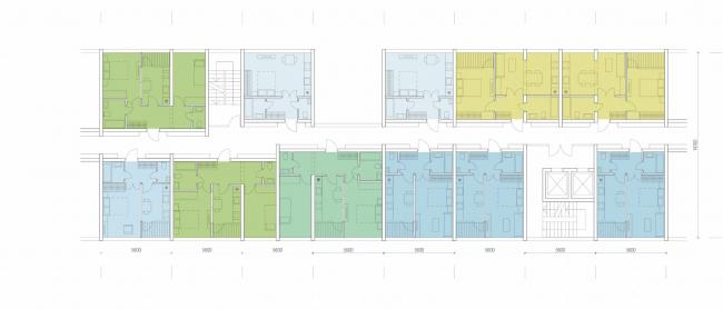 Комплексная общественно-жилая застройка на Васильевском острове. Типовой этаж. Проект, 2015 © KCAP Architects & Partners + ORANGE Architects
