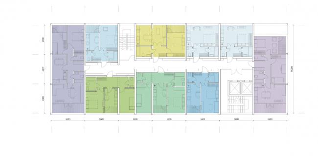 Комплексная общественно-жилая застройка на Васильевском острове. Типовой этаж башни. Проект, 2015 © KCAP Architects & Partners + ORANGE Architects