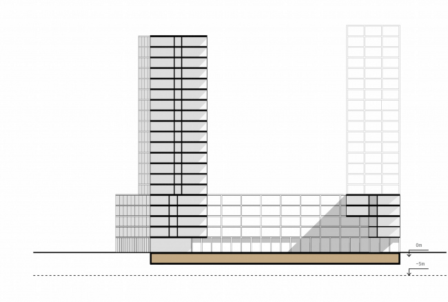 Комплексная общественно-жилая застройка на Васильевском острове. Паркинг на одном уровне. Проект, 2015 © KCAP Architects & Partners + ORANGE Architects