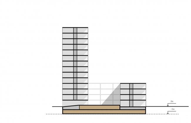 Комплексная общественно-жилая застройка на Васильевском острове. Паркинг на двух уровнях. Проект, 2015 © KCAP Architects & Partners + ORANGE Architects