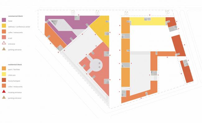 Комплексная общественно-жилая застройка на Васильевском острове. Первый этаж квартала 9. Проект, 2015 © KCAP Architects & Partners + ORANGE Architects