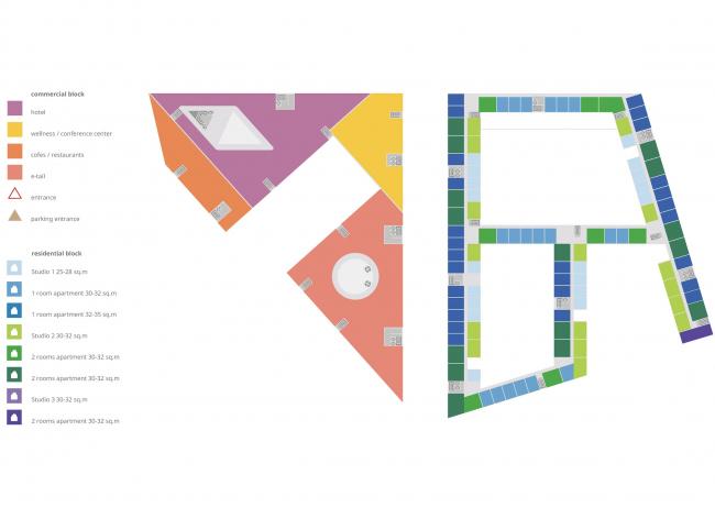 Комплексная общественно-жилая застройка на Васильевском острове. Типовой этаж квартала 9. Проект, 2015 © KCAP Architects & Partners + ORANGE Architects