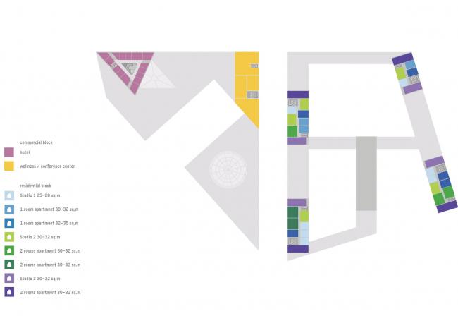 Комплексная общественно-жилая застройка на Васильевском острове. Планы башен квартала 9. Проект, 2015 © KCAP Architects & Partners + ORANGE Architects