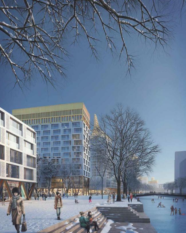 Комплексная общественно-жилая застройка на Васильевском острове. Проект, 2015 © KCAP Architects & Partners + ORANGE Architects