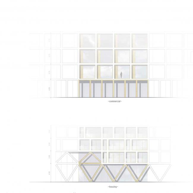 Комплексная общественно-жилая застройка на Васильевском острове. Концепция фасадов 1 этажа. Проект, 2015 © KCAP Architects & Partners + ORANGE Architects