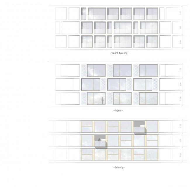 Комплексная общественно-жилая застройка на Васильевском острове. Концепция фасадов типового этажа. Проект, 2015 © KCAP Architects & Partners + ORANGE Architects
