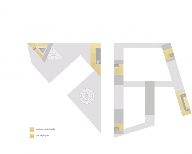 Комплексная общественно-жилая застройка на Васильевском острове. Верхние этажи квартала 9. Проект, 2015 © KCAP Architects & Partners + ORANGE Architects
