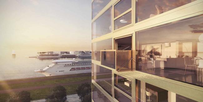 Комплексная общественно-жилая застройка на Васильевском острове. Вида на канал. Проект, 2015 © KCAP Architects & Partners + ORANGE Architects