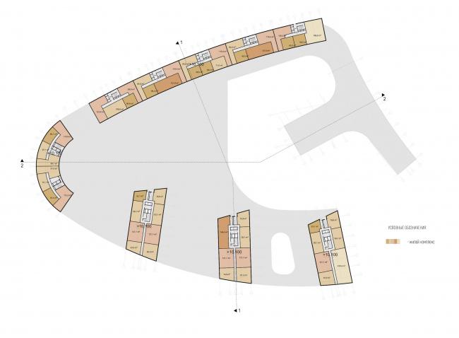 Многофункциональный жилой комплекс на территории завода «Филикровля». План 2 этажа. Проект, 2015 © Архитектурное бюро Асадова