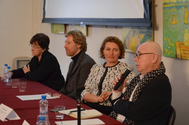 Пресс-конференция в ЦДА. На фото, справа налево: Евгений Асс, Полина Филиппова, Ярослав Ковальчук и Елена Гонсалес. Фотография ©  Елена Петухова