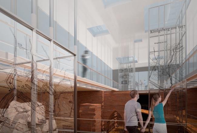 Проект историко-культурного комплекса в Калининграде. Интерьер музея. Проект, 2015 © Архитектурная мастерская А.А. Столярчука