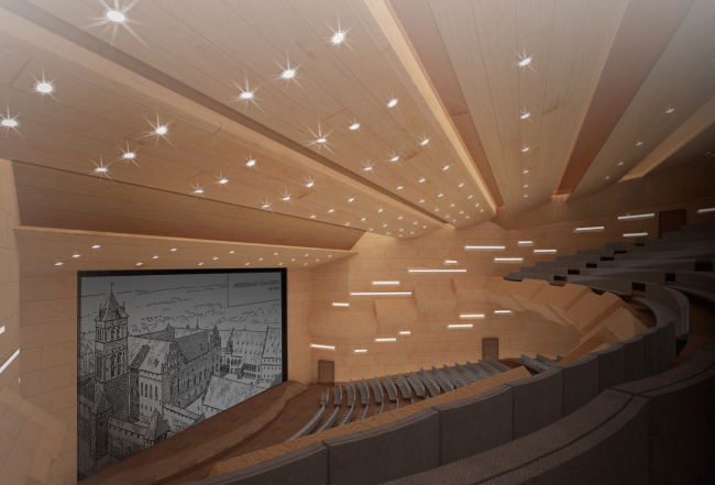 A project of historical and cultural center in Kaliningrad. The inside of the multifuctional hall. Project, 2015 © Anatoly Stolyarchuk Architectural Studio