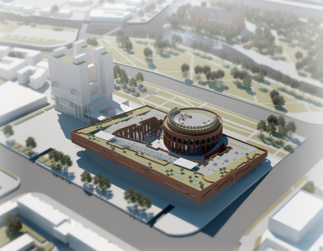 A project of historical and cultural center in Kaliningrad. Bird's eye view. Project, 2015 © Anatoly Stolyarchuk Architectural Studio