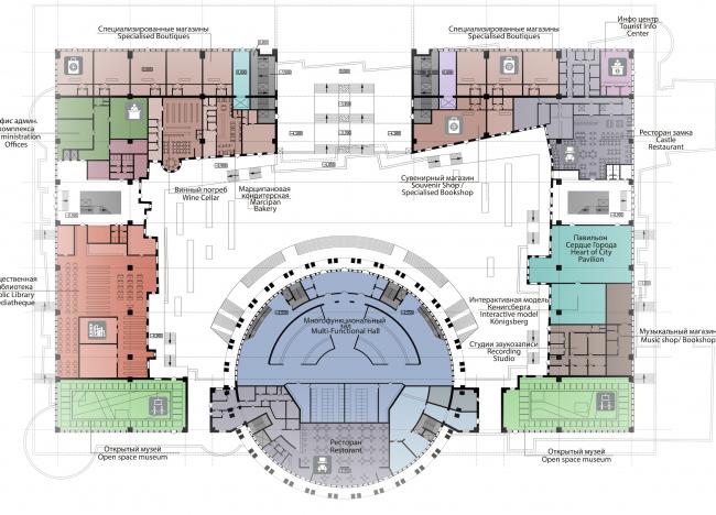 Проект историко-культурного комплекса в Калининграде. План 1 этажа. Проект, 2015 © Архитектурная матсерская А.А. Столярчука