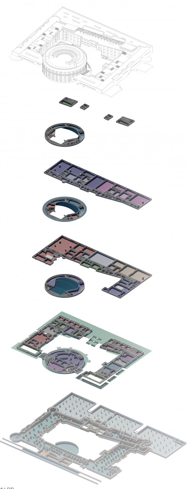 Проект историко-культурного комплекса в Калининграде. Схема этажей. Проект, 2015 © Архитектурная матсерская А.А. Столярчука