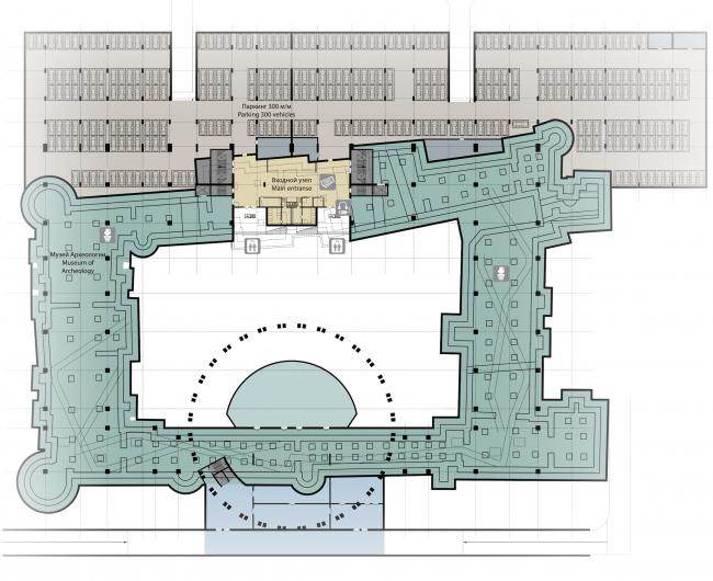 Проект историко-культурного комплекса в Калининграде. План подземного уровня. Проект, 2015 © Архитектурная матсерская А.А. Столярчука