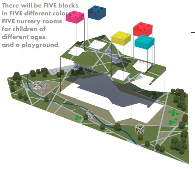 Детский сад в Лондоне. Схема расположение корпусов. Проект, 2015 © Архитектурная мастерская А.А. Столярчука