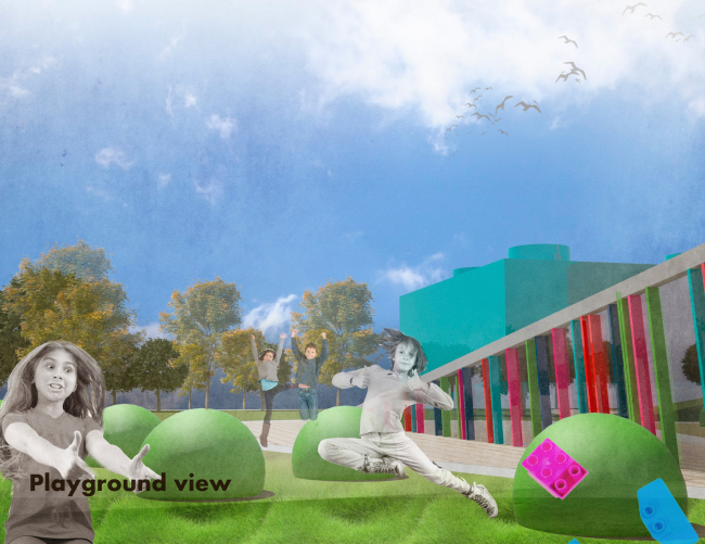 Nursery school in London. View of the playground. Project, 2015 © Anatoly Stolyarchuk Architectural Studio