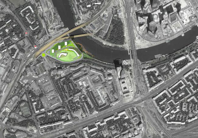 Многофункциональный жилой комплекс на территории завода «Филикровля». Ситуационный план. Проект, 2015 © ABD architects