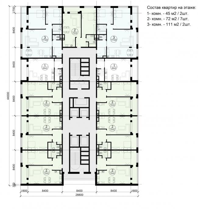 Многофункциональный жилой комплекс на территории завода «Филикровля». План типового этажа башни. Вариант 1. Проект, 2015 © ABD architects
