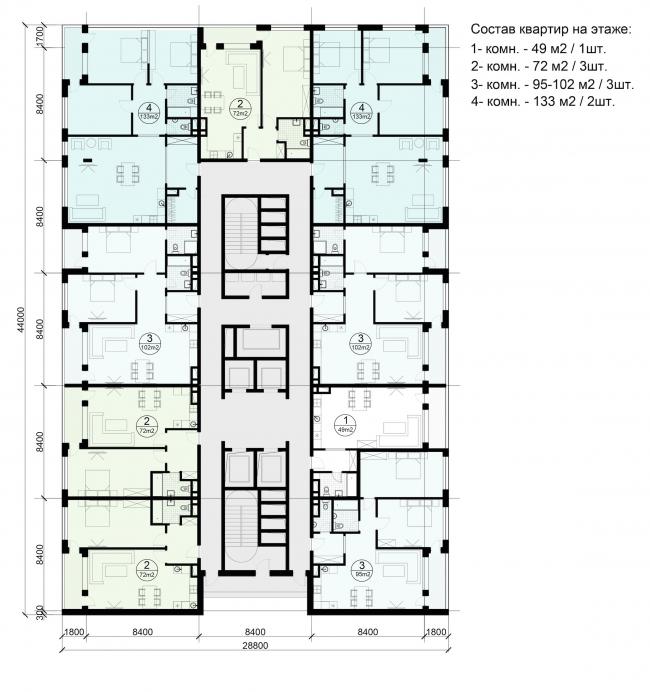 Многофункциональный жилой комплекс на территории завода «Филикровля». План типового этажа башни. Вариант 3. Проект, 2015 © ABD architects