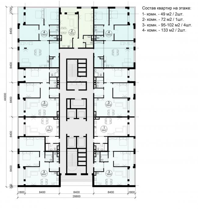 Многофункциональный жилой комплекс на территории завода «Филикровля». План типового этажа башни. Вариант 4. Проект, 2015 © ABD architects