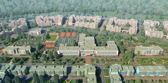 """New Sertolovo"" residential complex. Bird's eye view. Project, 2015 © Sergey Tsytsin Architectural Studio"