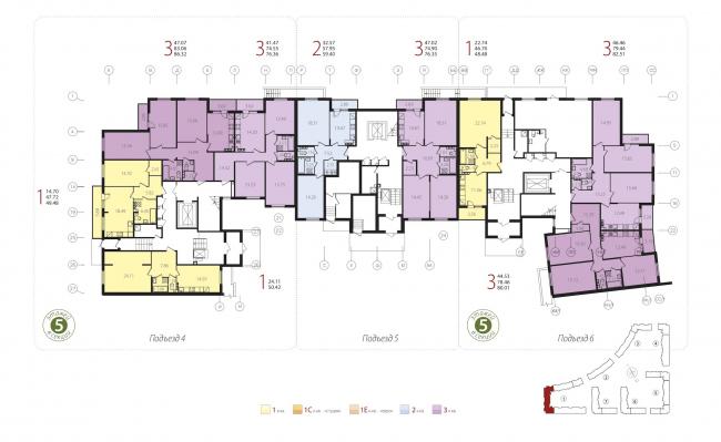 Жилой квартал «Новое Свертолово». План 1 этажа (корпус 1). Проект, 2015 © Архитектурная мастерская Цыцина