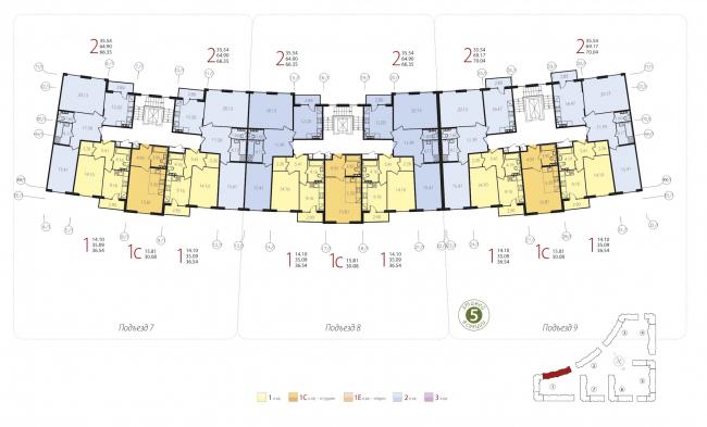Жилой квартал «Новое Свертолово». План типового этажа (корпус 1). Проект, 2015 © Архитектурная мастерская Цыцина