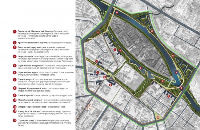 Концепция обновления общественных пространств в Туле. Схема генерального плана. Проектное предложение. Проект, 2015 © Четвертое измерение