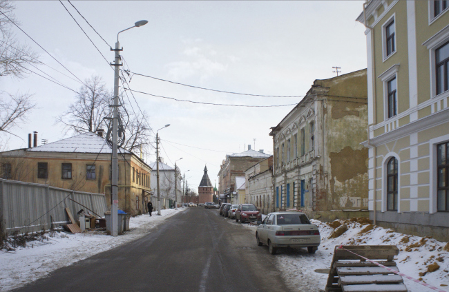 The concept of renovating Tula's public territories. The Soyuznaya Street. The current situation. Project, 2015 © 4izmerenie