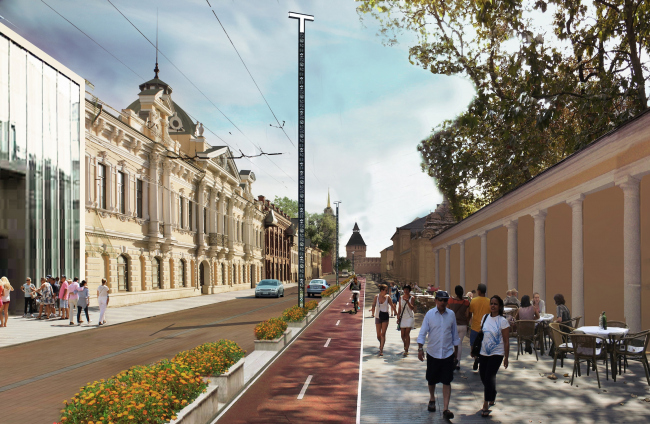 The concept of renovating Tula's public territories. The Metallistov Street. The current situation. Project proposal, 2015 © 4izmerenie