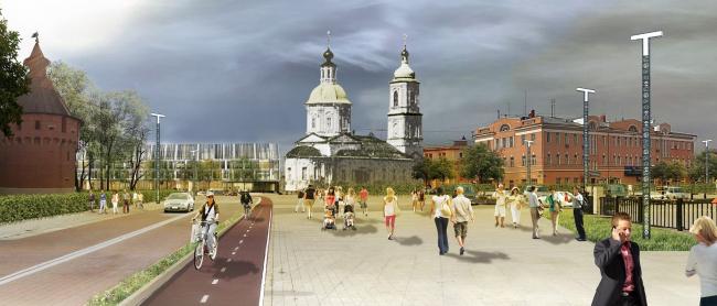 Концепция обновления общественных пространств в Туле. Крестовоздвиженская площадь. Проектное предложение, 2015 © Четвертое измерение