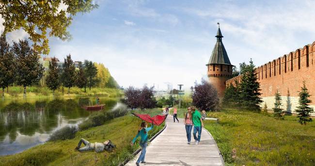 The concept of renovating Tula's public territories. The Kremlin Embankment. The current situation. Project proposal, 2015 © 4izmerenie