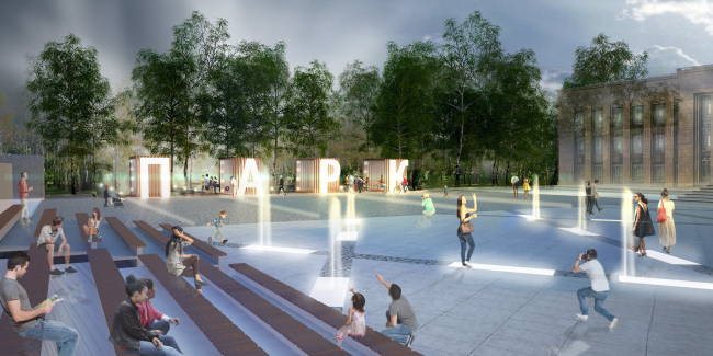 The concept of renovating Tula's public territories. The Square of Arts. Entrance to the Byelorussy Park. Project proposal, 2015 © 4izmerenie