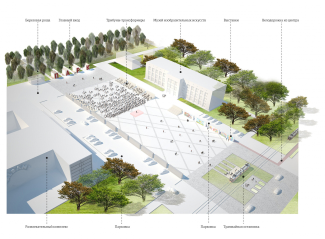 The concept of renovating Tula's public territories. The Square of Arts. City festival. Project proposal, 2015 © 4izmerenie