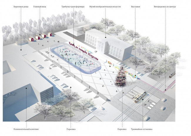 The concept of renovating Tula's public territories. The Square of Arts. The skating rink. Project proposal, 2015 © 4izmerenie
