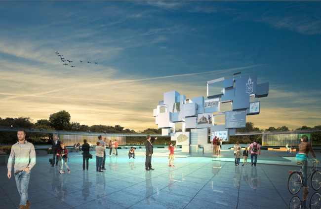 "The concept of renovating Tula's public territories. ""Heart of Tula"" at the Central Square next to the Byelorussky Park. Project proposal, 2015 © 4izmerenie"