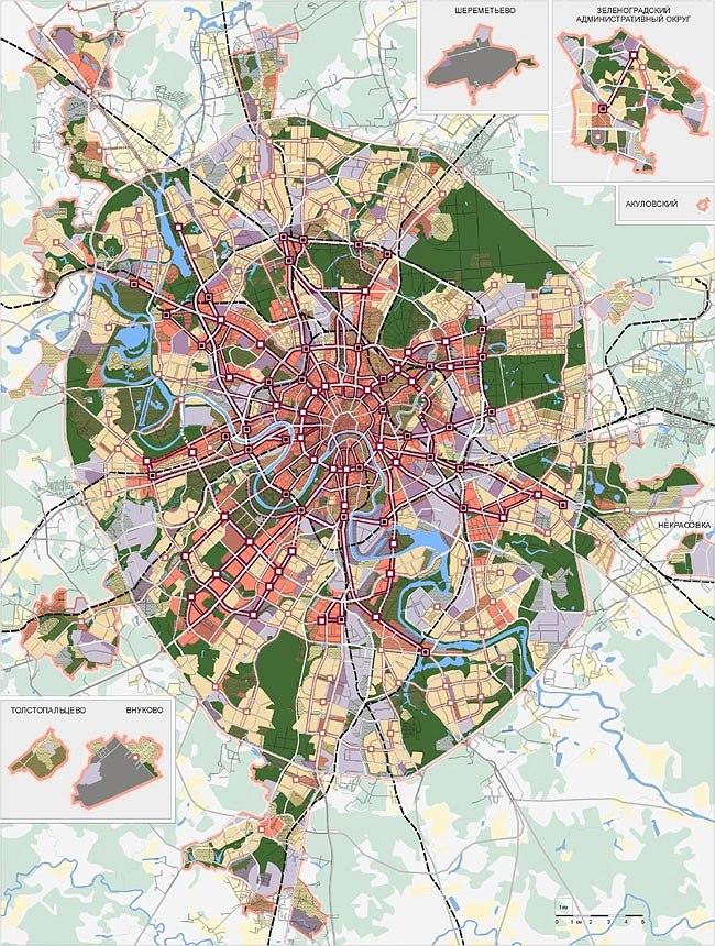 архитектурно-планировочная структура города. Условные обозначения на схеме см. на сайте: www.stroi.ru