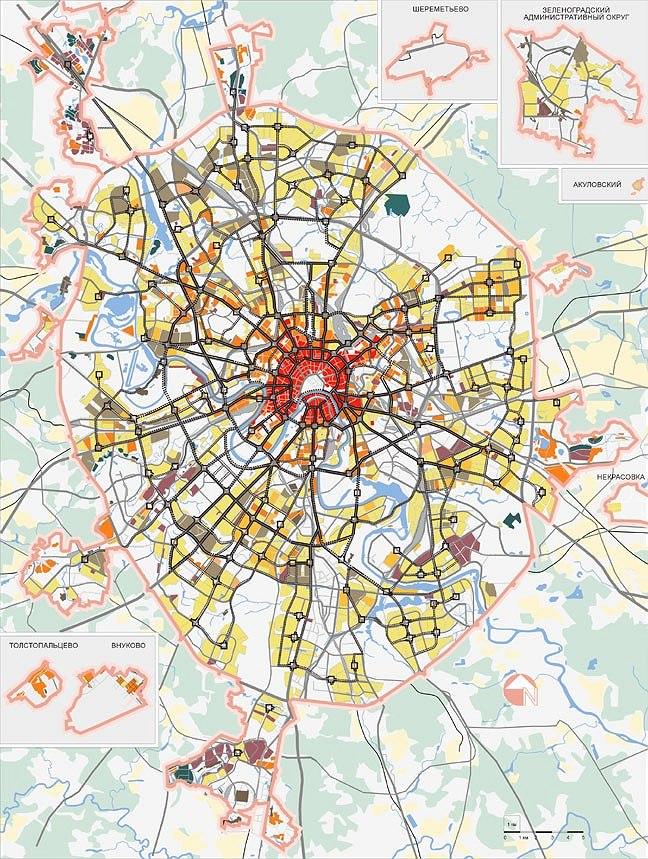 основные направления реконструкции и развития жилых территорий до 2020 г. Условные обозначения на схеме см. на сайте: www.stroi.ru