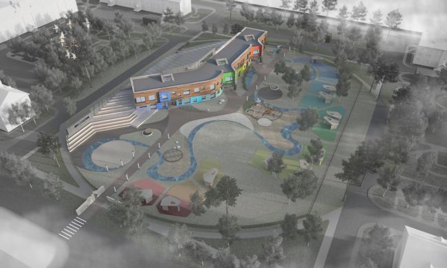 Kindergarten in Beloyarsky. Birds-eye view. Project, 2014 © City-Arch