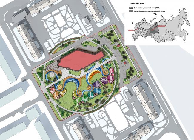 Kindergarten in Beloyarsky. Master plan. Project, 2014 © City-Arch